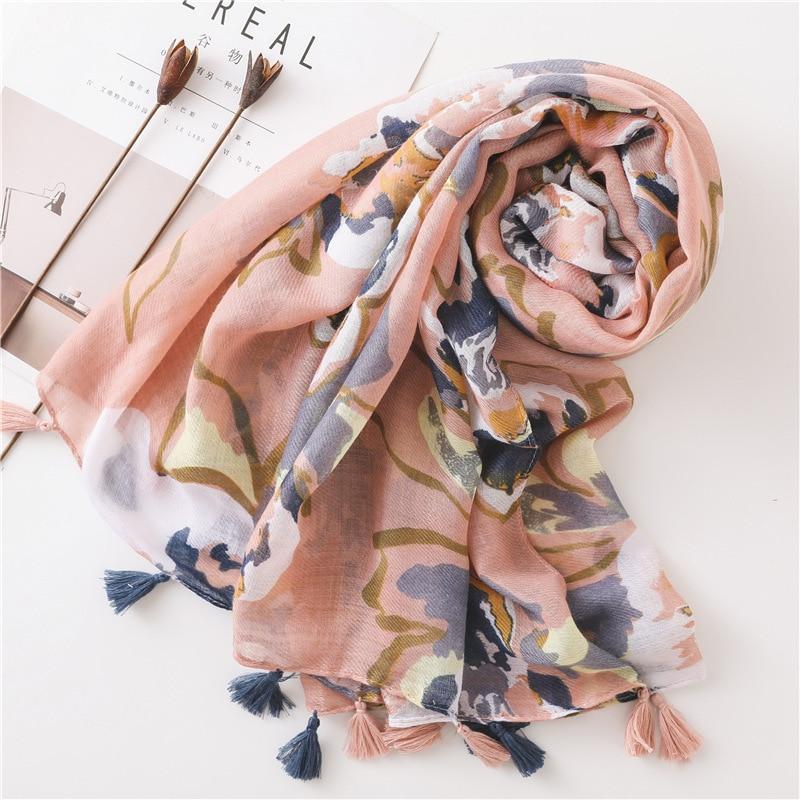 2020 New Fashion Summer Women Cotton Scarf Flower Beach Hijab Shawls And Wraps Female Foulard Echarpe Designer Bandana