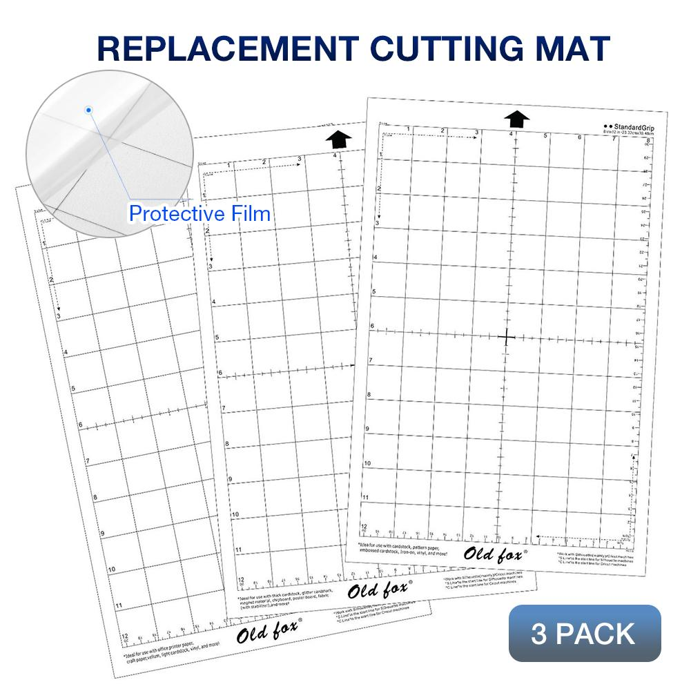 3Pcs New Cutting Mat Transparent Replacement Adhesive Mat With Measuring Grid 8 By 12-Inch For Silhouette Cameo Plotter Machine