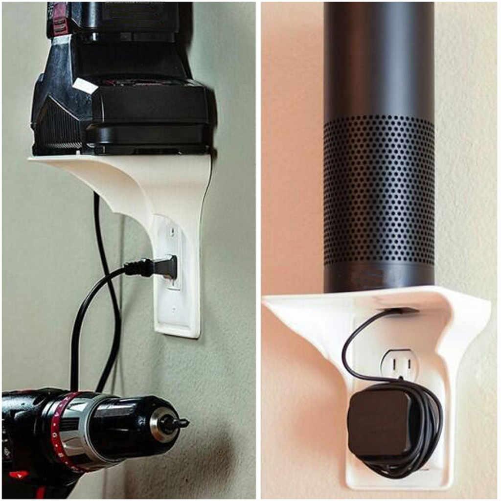 ปฏิบัติติดผนังโทรศัพท์ผู้ถือซ็อกเก็ต Sticky Outlet ชั้นวาง A Space สำหรับไม่เกิน 10lbs Rack 2pcs
