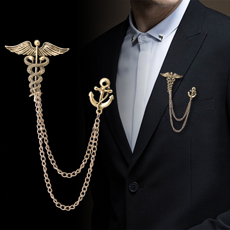 New Retro Snake Animal Brooch Angel Wings Tassel Chain Lapel Pins Suit Collar Pin Badge Shirt Brooches for Men Accessories