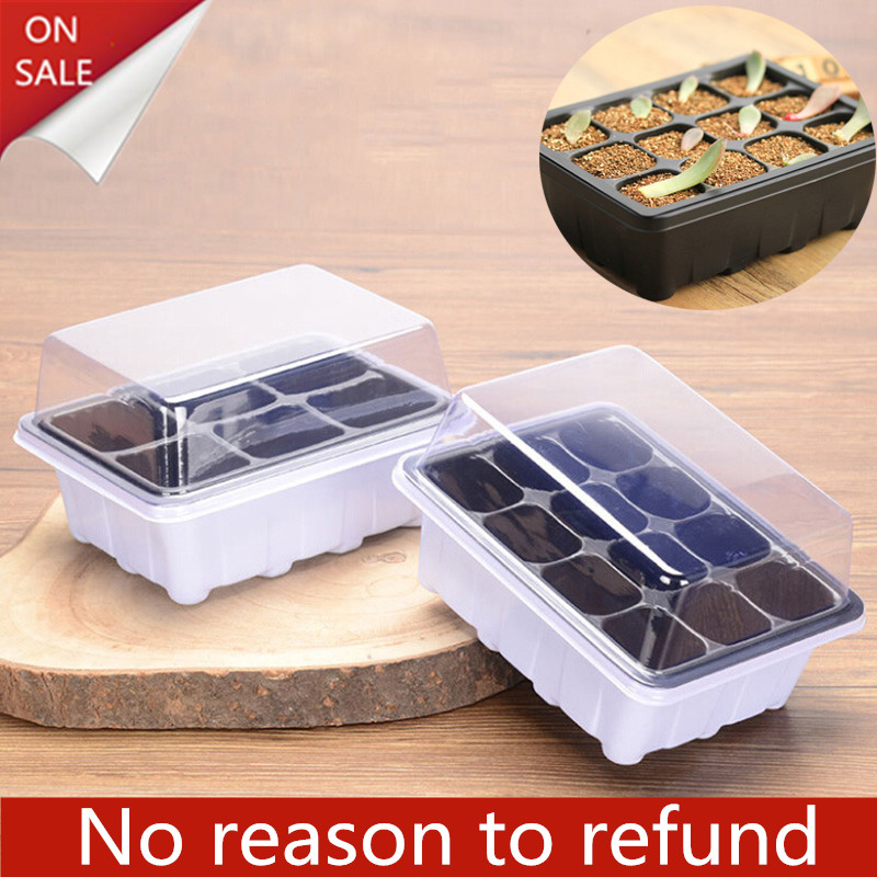 6/12 Plastic Nursery Pots Planting Seed Tray Kit Plant Germination Box with Dome and Base Garden Grow Box Gardening Supplies Pakistan