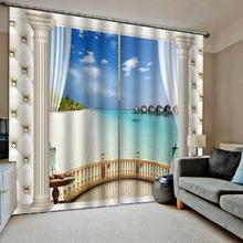 3D Curtain Luxury Blackout Window Living Room  roman soft beach curtains scenery curtain