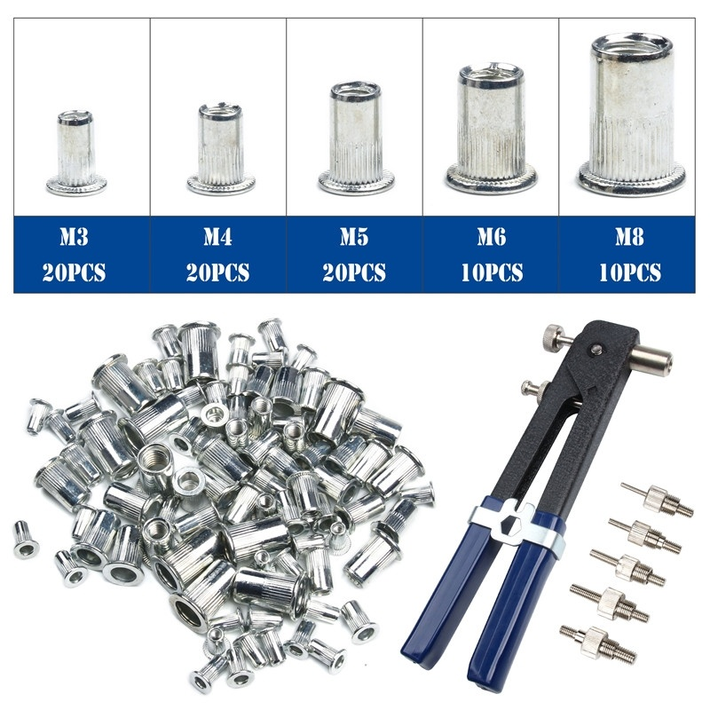 86Pcs Household Repair Tools Set M3-M8 Blind Hand Rivet Nuts Threaded Insert Rivet Tool Riveter Gun With Nutsert Riveting