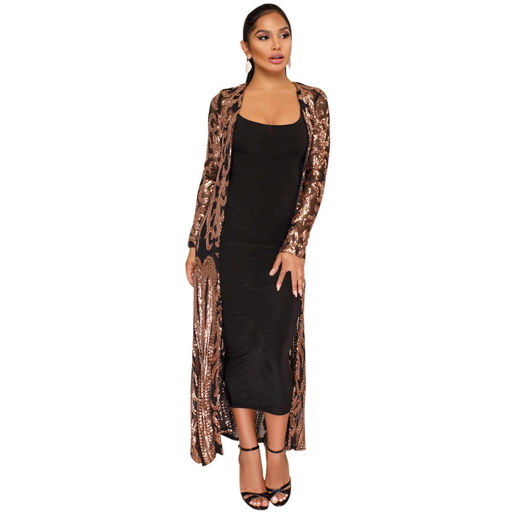 Nouveau manteau du manteau africain riche robe bazin pour les femmes Sexy paillettes Perspective Cardigan cape de la un manteau
