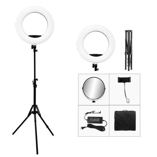 מקורי Yidoblo FS 480II Led טבעת אור ערכת Selfie איפור מנורת 18 אינץ צילום תאורה 48W Led וידאו סטודיו אור 5500K