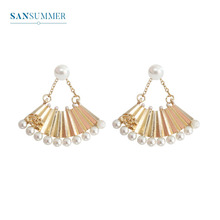 SANSUMMER 2019 New Style Fashionable Alloy Plating Metal Fan Pearl Chain Rosettes Feminine Retro Temperament Stud Earrings 5250