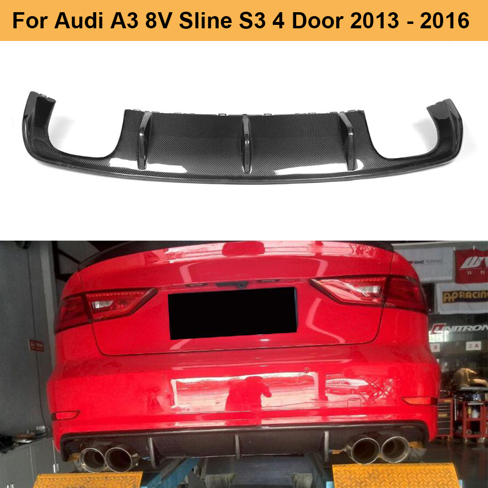 Carbon Fiber Car <font><b>Rear</b></font> Bumper <font><b>Diffuser</b></font> Lip Spoiler for <font><b>Audi</b></font> <font><b>A3</b></font> 8V Sline S3 Sedan 4 Door 2013 - <font><b>2016</b></font> Not <font><b>A3</b></font> Standard Car Spoiler image