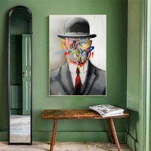 Граффити джентльмен лицо холст художественные плакаты абстрактные