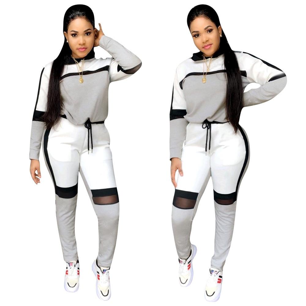 2019 осенне-зимний женский свитер с длинными рукавами, топ, штаны для бега, костюм, комплект из двух предметов, модная спортивная одежда