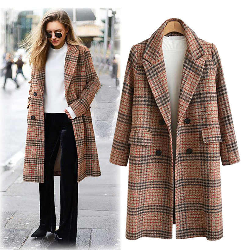 Winter Women's Wool Plaid Coat New Fashion England Style Long Woolen Coat Loose Type Plus Size Winter Wool Jackets Female