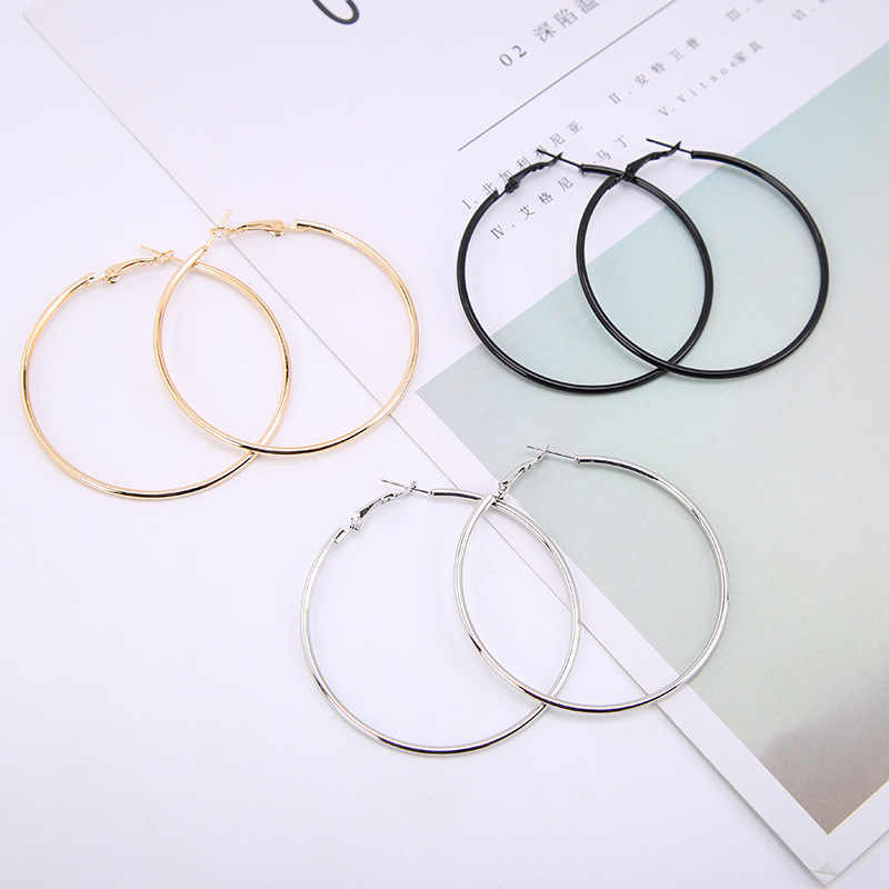 1Pair Fashion Women Girl Trendy Large Earrings Big Smooth Circle Earrings Brand Loop Earrings Jewelry