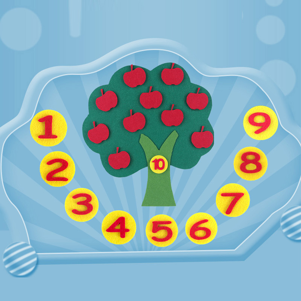 Child Toys Montessori Learn To Count Numbers Educational Toy Apple Tree Match Digital Teaching Non-Woven Puzzle Math Toy