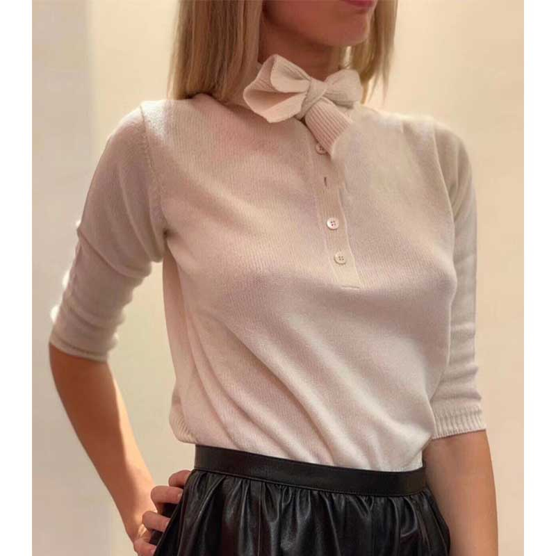 Cosmicchic Fashion 2019 Autumn Winter Women Sweater Wool Knitted Pullover Long Sleeve Bow Collar Short Jumper 2 Way Female Shirt