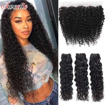 Sweetie Water Wave Bundles With Frontal Closure Brazilian Human Hair Weave 3 Bundles Non-Remy Lace Frontal Closure With Bundles