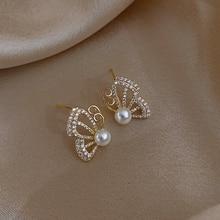 Earrings Women Jewelry Pearl Butterfly Personalized Fashion Simple for Gift Modelling