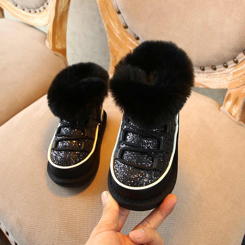 Модные шикарные зимние ботинки для маленьких девочек; ботинки с натуральным мехом для девочек; плюшевая обувь для малышей; теплые детские зимние ботинки с черным мехом
