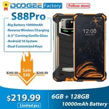 Ip68/ip69k doogee s88 pro áspero telefones celulares 10000mah helio p70 octa núcleo 6gb ram 128gb rom smartphone android 10 os