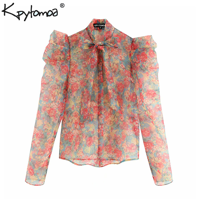 Vintage Sexy Floral Print Ruffles Organza Tops Women Blouses 2019 Fashion Bow Tie Collar See Through Shirts Casual Blusas Mujer