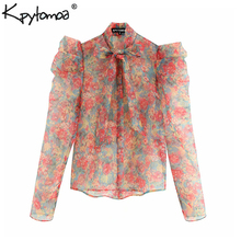 Vintage Sexy Floral Print Ruffles Organza Tops Women Blouses