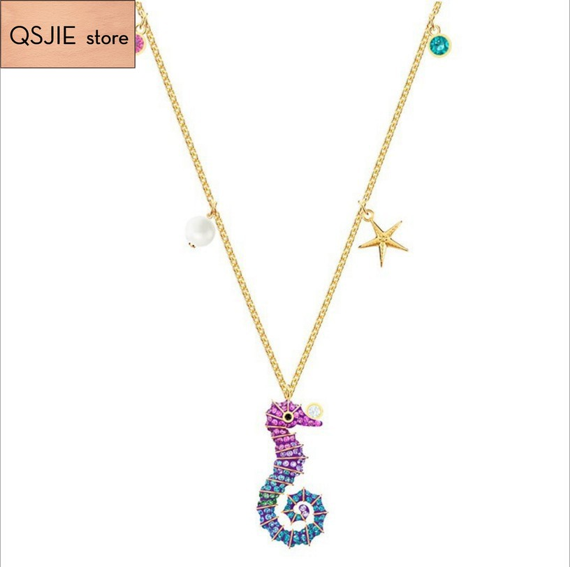 High quality SWA high original cute hippocampus DIY Necklace Pendant Fashion Female Jewelry