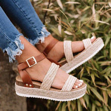 Summer Sandals Women shoes Buckle Strap Gladiator Thick soled Open Toe Platform Sandals Shoes Casual Straw weaving Shoes