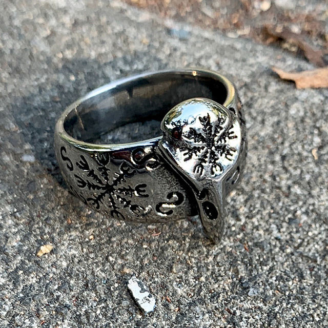 STAINLESS STEEL VIKING CROW SKULL RINGS (3 VARIAN)