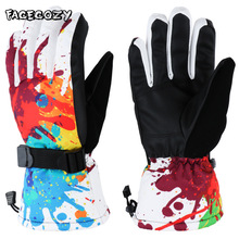 Facecozy Winter Snowboard Ski Gloves Men Women Windproof Waterproof Thermal Thick Mountain Riding Motorcycle Snow Mittens
