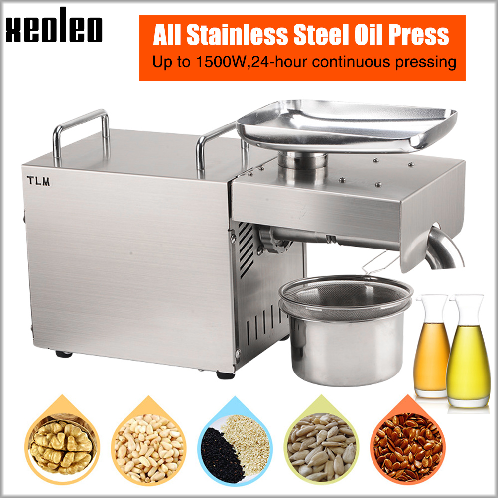XEOLEO Oil Press Machine Oil Presser Household Oil Machine Peanut/Olive Oil Maker Use For Sesame/Almond/Walnut 1500W 110/220V