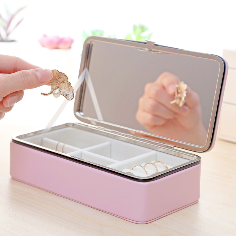 Exquisite Mirrored Jewelry Box Women Leather Packaging Necklace Rings Earring Bracelet Storage Organizer Display Gift