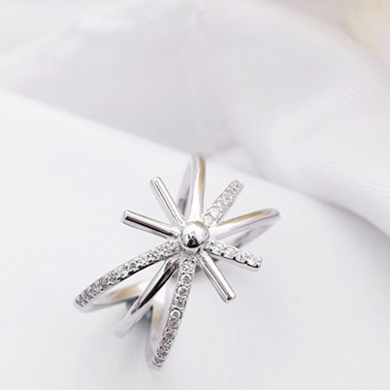 Fashion S925 Sterling Silver Ring Micro inlaid Zircon Opening Ring Personality Sun Flower Shape Rings for Women trend Jewelry in Rings from Jewelry Accessories