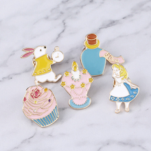 Little Girl Gift Alice in Wonderland Pin Brooch Button Badges Cute Tea Party,Alice,Queen of Heart ,CupcakeColorful Accessories