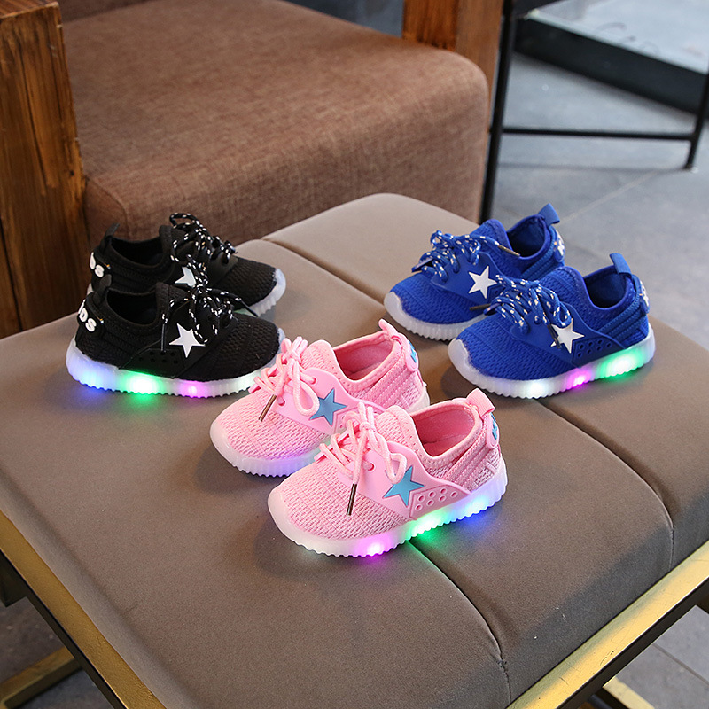 Stars Lace Up LED Baby Casual Shoes Soft Mesh Cool Baby Girls Boys Shoes Glowing Lighting Baby Infant Tennis Sneakers