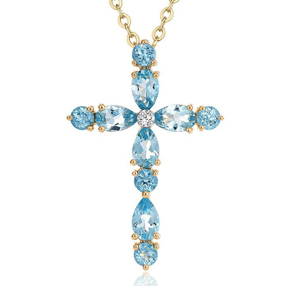 Aquamarine Gemstones Cross Pendant Necklace For Women Blue Crystal 18k Gold Color Chain Choker Jewelry Bijoux Luxury Accessory