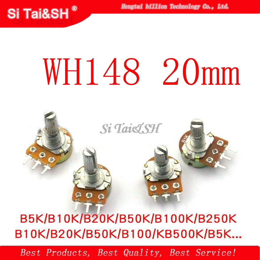 2pcs/lot WH148 20mm Shaft Amplifier Dual Stereo Potentiometer B1K B2K B5K B10K B20K B50K B100K B500K 3Pin 1K 2K 5K 10K 50K 100K