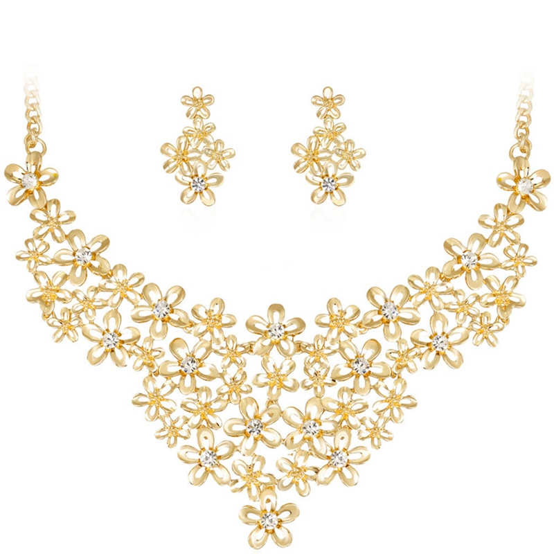 Fashion Classic Gold Color Flower Two-piece Jewelry Set For Women Best Birthday Gift Suit