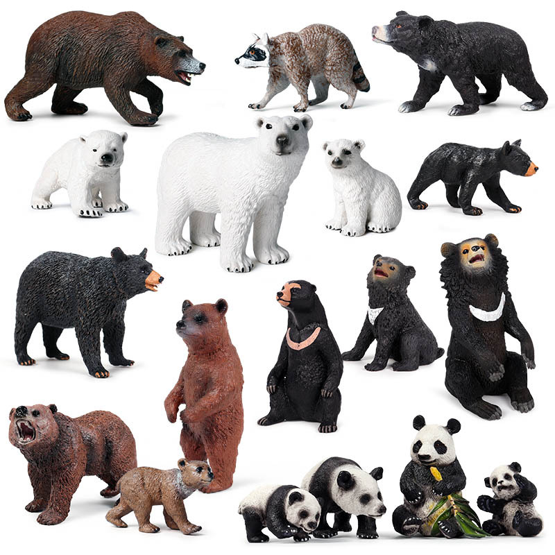 Solid Simulation Bear Wild Animal Model Polar Bear Panda Dog Bear Plastic Model Children Cognitive Collection Toys Gift