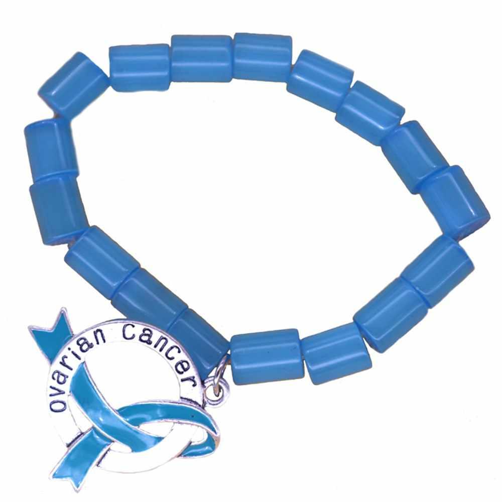 Handmade Beaded Elastic Raise Awareness Anxiety Disorders Teal Ribbon Ovarian Cancer Bracelets Aliexpress