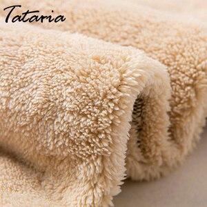 Image 2 - 冬のカシミヤハーレムウォームパンツ女性のベルベット厚いラムスキンsweatpantパンツ女性のための冬のパンツ女性ズボン暖かい