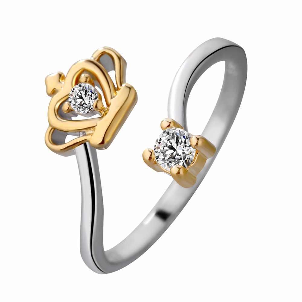 أنيقة جميلة كريستال ولي خواتم الفضة والمجوهرات الأزياء مفتوحة إصبع الزركون عصابة النساء الفتيات حزب الزفاف هدية الكريسماس