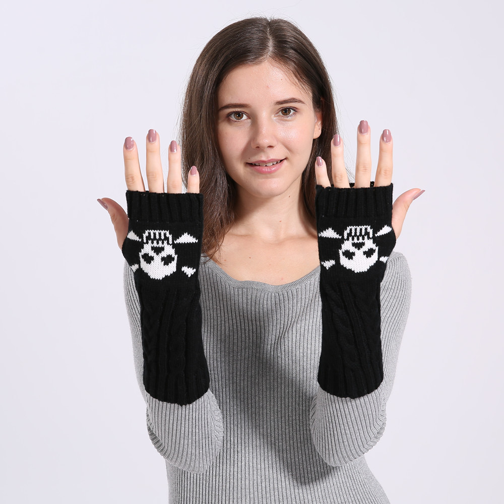 Women's Gloves Arm Warmers Knitted Embroidery Skull Funny Gloves Long Hand Glove Novelty Gloves Fingerless Gloves Girl