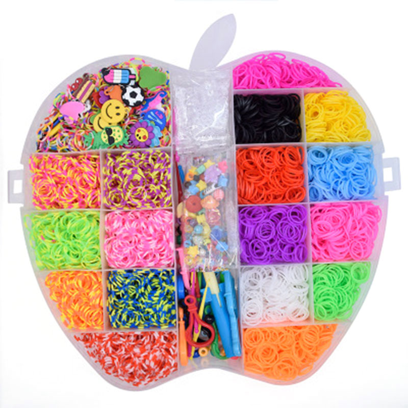 10000pc Elastic Rubber Loom Bands Set DIY Toy  Weave Gum Bracelet Kid DIY Silicone Rubber Bands Rainbow for Teenage 8 10 years