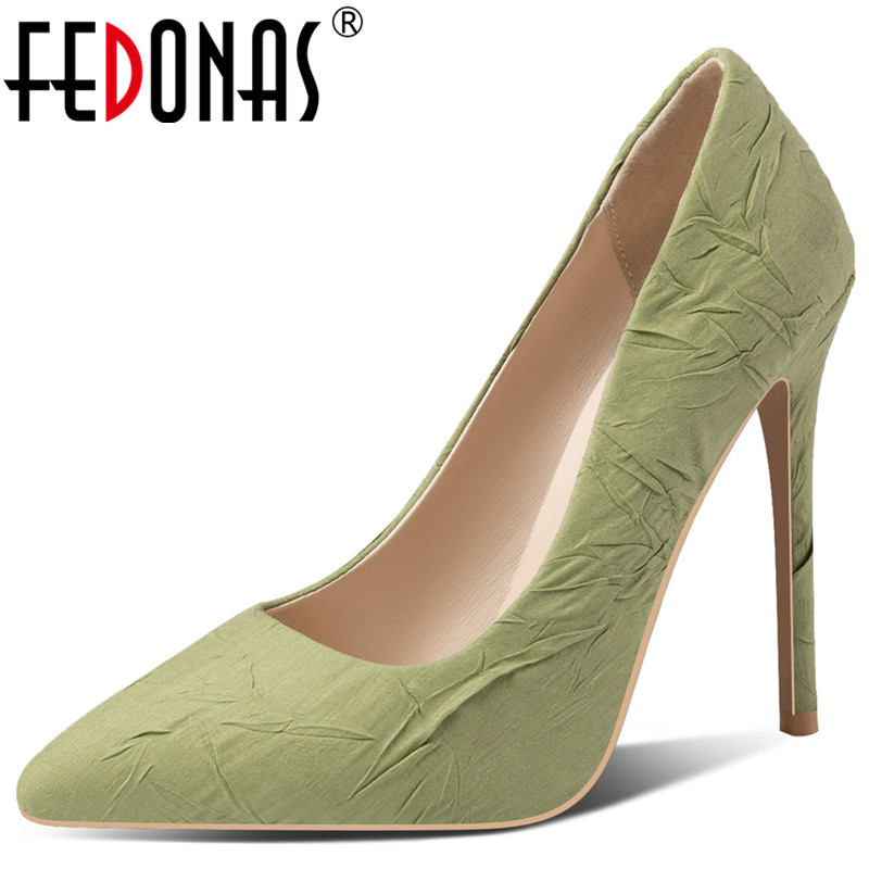 FEDONAS Concise Ruffles Pumps Women Spring Autumn Colorful Shallow Buckle Wedding  Party Shoes Woman Plus Size Super High Heeled