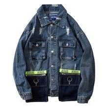 Streetwear Denim Jacket Man/Women Turn Down Collar Single Breasted Patchwok Jeans Coat Hip Hop Autumn Outerwear Dropshipping цены
