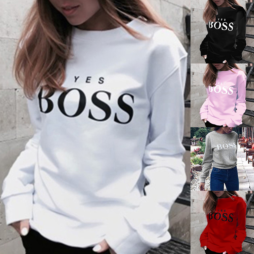 Women Letter Printed Sweatshirts Women Autumn 2019 O Neck Hoodie Sweatshirt Ladies Long Sleeve Pullover Jumper Sudadera Mujer