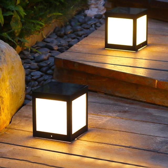 Thrisdar Outdoor Garden Solar Lawn Light Villa Porch Fence Front Door Solar Pillar Lamp Balcony Pathway Bollard Light