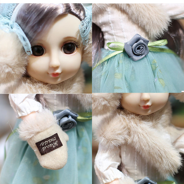 30CM BJD Doll 15 Ball Joints Bjd Dolls With Winter Outfits Dress Girl Princess Gift Make up Girls DIY BJD Toys Best Gift for Kid 3