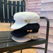 01909-yuchun882285365 металлические кнопки зимние теплые Восьмиугольные шляпы мужские женские козырьки для отдыха кепки оптом