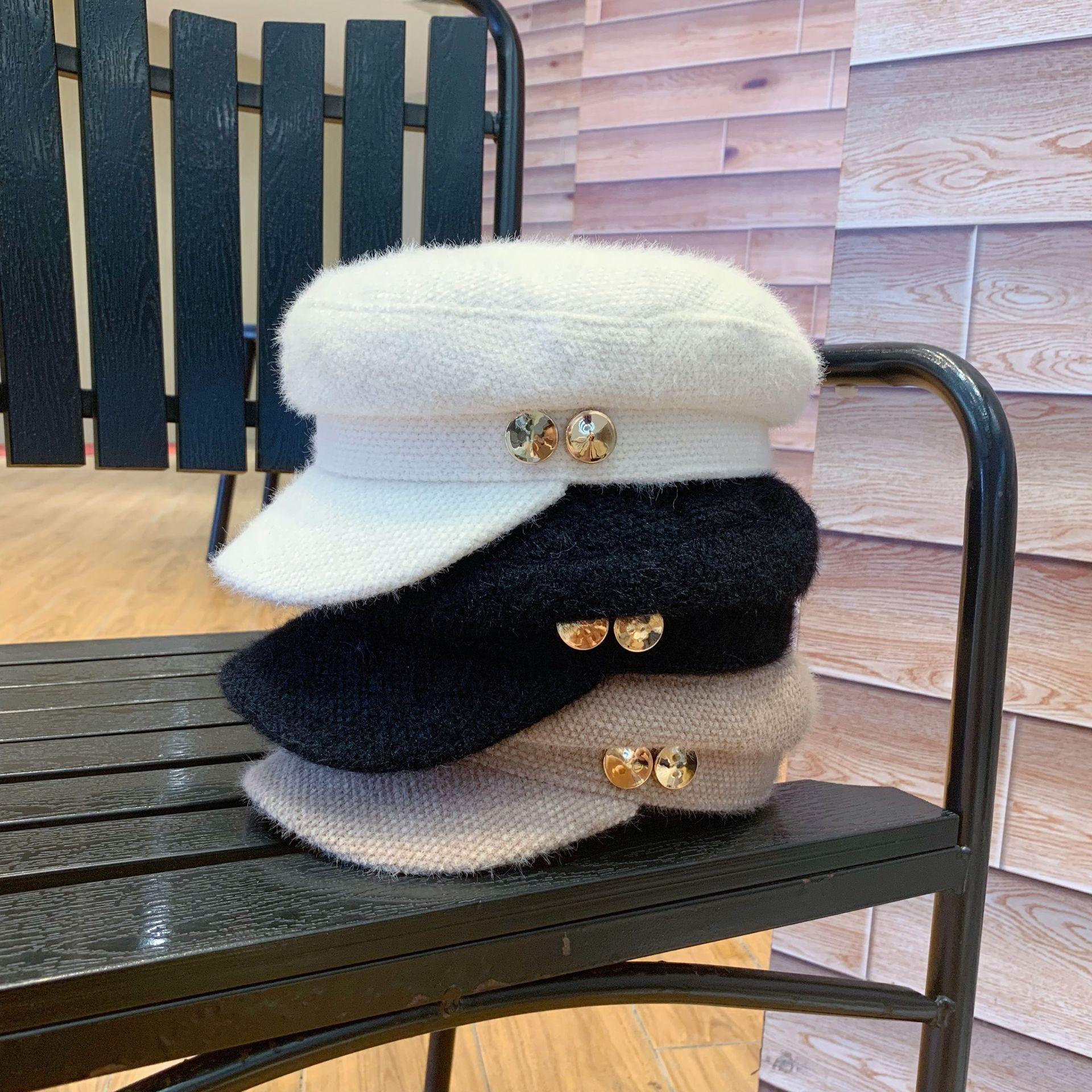 01909-yuchun882285365  Metal buttons winter warm octagonal hat men women leisure visors cap wholesale