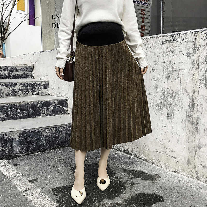 High Waist Pleated Skirt Maternity Clothes For Pregnant Women Autumn Winter Skirt Bottoming Abdominal Skirts Pregnancy Clothing