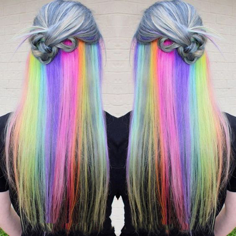 BUQI Long Straight Rayon Colored Hair Extensions Clip In Highlight Rainbow Hair Streak Pink Synthetic Hair Strands On Clips